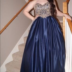 Navy blue Ballgown with gold beading